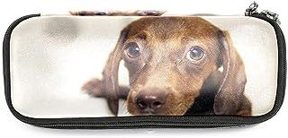 TIZORAX - Astuccio portapenne con cucciolo di cane bassotto, astuccio per trucchi e cancelleria, per scuola e ufficio