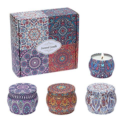 Hidyliu 4 Stück Natürliches Sojawachs Kerzen, Aromatherapie Kerze Deko, Kerzengeschenk für Frauen, Tragbares aus Dose, Vanille, Lavendel, Zitrone, Rose, für Entspannung, Stressabbau, Lufterfrischung