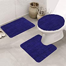 3 Pieces Bathroom Rugs Set, Upgraded Thick Chenille Luxury Soft Bath Mats, Super Absorbent Shaggy Anti-Slip Area Rugs, U-S...