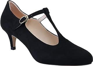 SHOESFEILD Women's Round Toe Ankle Strap Comfort Vintage T-Strap Mid Heel Dress Pumps