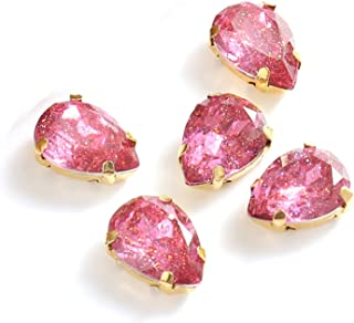 XISENHAN 10x14mm Teardrop Resin Sew On Rhinestones With Gold Claw Crystal Sewing Rhinestones For Needlework (Color : Rose,...