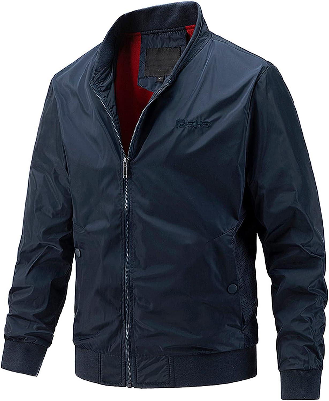 RIZI Jacket Regular Men's Casual Bomber Coat Lightweight Fall Pockets Outwear Windbreaker Zip Winter Softshell Long Sleeve