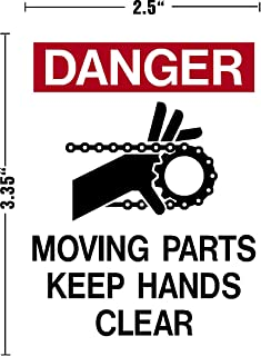 I Make Decals™ Danger, Moving Parts, Keep Hands Clear, Vinyl Decal Sticker Placard 2.5