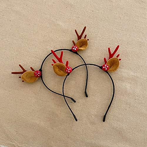 Adorno De Pelo De Navidad Lindo Hairball Cornamentas Super Hada Decorativa Cabeza De Pelo Aros Mori Chica Tocado 2 Championes - Cornamentas Rojas