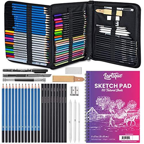 Lartique 72-Piece Drawing Kit - Sketch Pad & Case, Set of Graphite, Charcoal, Watercolor, Metallic & Colored Pencils, Art Knife, Pencil Extender, Marker, Sandpaper, Blending Tips, Eraser, Sharpener