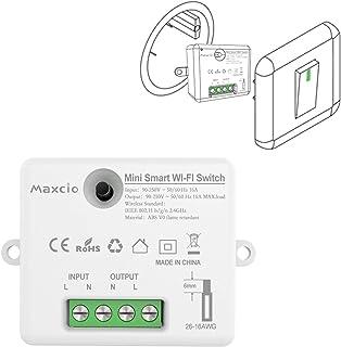 Maxcio slimme wifi-schakelaar, compatibel met Alexa en Google Home, slimme lichtschakelaar, spraakbesturing, afstandsbedie...