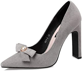 Ying-xinguang Shoes Fashion Thick with Bow Sexy Single Shoes Pearl Sweet High Heels Women's High Heel Comfortable