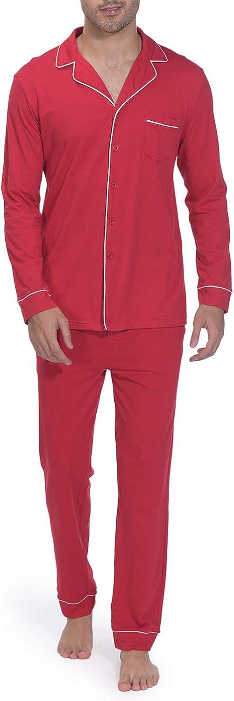 Indefini Men's Cotton Pajama Sets Long Sleeve Button Down Pj Set Sleepwear Loungewear, Size S-XL