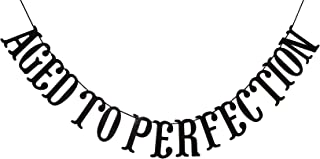 Qttier Aged to Perfection Banner for 50th 60th 70th 80th 90th 100th Birthday Anniversary Party Decorations Assembled Supplies Decor Favors Bunting Photo Booth Props Sign (Black Glitter)