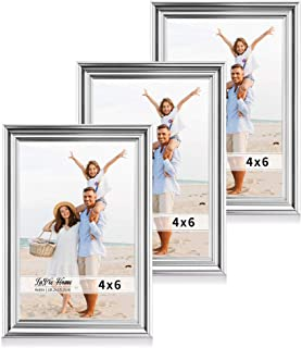 LaVie Home 4x6 Picture Frames(3 Pack, Silver) Single Photo Frame with High Definition Glass for Wall Mount & Table Top Display, Set of 3 Basic Collection