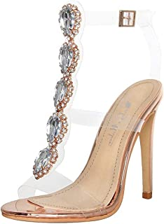 Womens Ankle Strap Buckle Cutout Gem Clear Stiletto High Heels Gladiator Transparent Strip Sandals with Rhinestones
