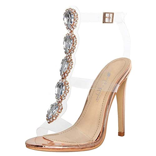 b910927dcd14 onlymaker Womens Ankle Strap Buckle Cutout Gem Clear Stiletto High Heels  Gladiator Transparent Strip Sandals with