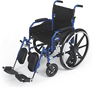 """Medline Combination Transport Chair and Wheelchair, 18"""" Wide Seat, Desk-Length Arms, Elevating Legrests"""