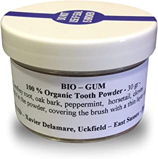 Bio-Gum Tooth Powder - 30g (Organic) Have one to sell? Sell it yourself Details about Bio-Gum Tooth Powder - 30g Organic Oak Bark, Comfrey Root, Horsetail, Peppermint by Ancient Purity