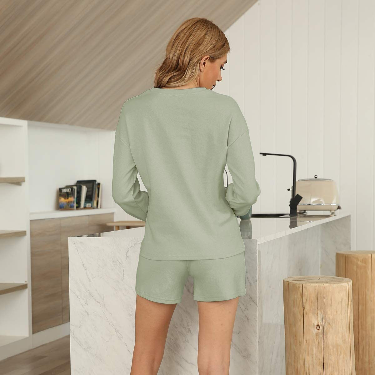 Lounge Sets for Women 2 Piece Outfits Long Sleeve Jogger Tops and Shorts Pajamas Set Sleepwear Nightwear