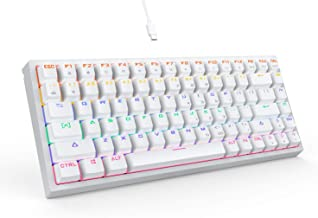 DREVO Gramr 84 Key Rainbow Backlit Mechanical Gaming Keyboard USB Wired 75% TKL Keyboard Black Switch, White