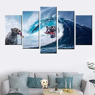 woplmh Wall Art Canvas -5 Pieces HD Printing Bear Giant Wave catching Fish Poster Modern Abstract painting-40x60cmx2 40x80cmx2 40x100cmx1 / no Frame