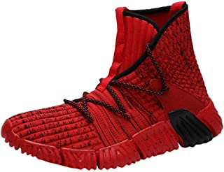 God's pens Mens High-Top Sneakers Teens Outdoor High-top Casual Sports Shoes Woven Breathable Soft Bottom Running Shoes