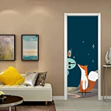 Xqi wangpu Anime Fox Forest Snow Night Door Pegatinas Autoadhesivas PVC Dormitorio Wallpapers 3D Creativo Decoración del Hogar por Mural DIY Calcomanía 77X200cm