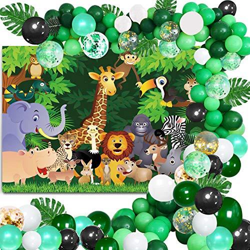 Safari Giungla Decorazioni Ghirlanda Palloncino Kit, Poster Fabric per Festa per il Tema Della Giungla, Palloncini Coriandoli Oro Verde con Foglie di Palma, Jungle Palloncini per Feste per Compleanno