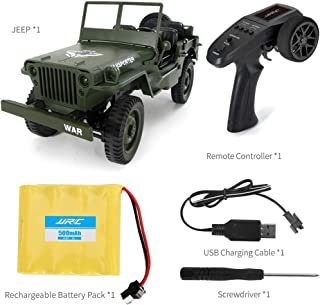 Viouyh Remote Control Off-Road Military Truck, JJRC Q65 1/10 Scale with LED Headlights Four-Wheel Drive 2.4G RC Climbing Truck Toy Car, Ship from US