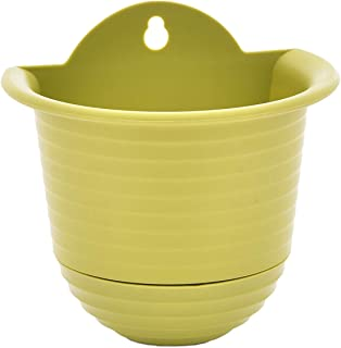 TABOR TOOLS Plastic Wall Planter Pot for Vertical Flower Garden, Living Wall or Kitchen Herbs, Colorful Modern Wall Planter with Attached Saucer, Small 6 Inch. ZG654A. (Light Green)