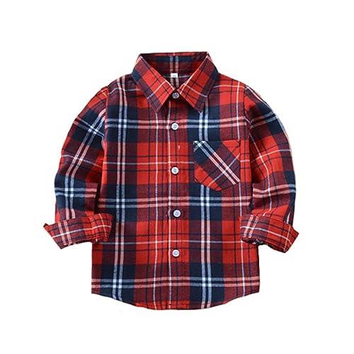d4f7a8e5cc Tortor 1Bacha Kid Girl Boy Long Sleeve Button Down Plaid Flannel Shirt