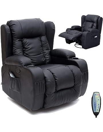 UnfadeMemory 72 x 98 x 98 cm poltrona elettrica per TV colore: bianco crema Poltrona massaggiante in ecopelle per massaggio con funzione riscaldamento regolabile