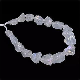 Aqua Aura White Clear Quartz Crystal Nugget Raw Graduated Beads Strand 2mm Hole Drilled