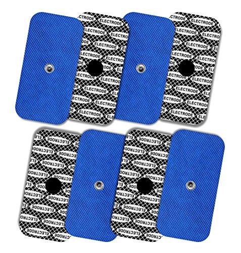 TENSPAD SILVER 8 electrodos con patrón de Plata para Compex, 50x100mm con 1 Snap