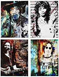 "Ready2HangArt ""Rock Stars"" 4 Piece Canvas Wall Art"