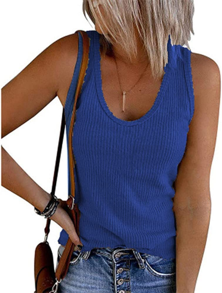 GLBS Spring Summer Solid Color Ladies Vest U-Neck Sleeveless Rib Knit Casual Vest Cotton Polyester Women's T-Shirt (Color : Fancy Blue, Size : Small)