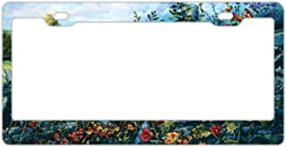 Custom Auto Frames Floral License Plate Frame Tag, 2 Holes Aluminum Metal Car Licence Plate Cover with Screw Caps for US Vehicles