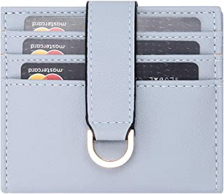 GEEAD Slim Minimalist Small Wallet Bifold Coin Purse with Keyring Credit Card Holder for Women