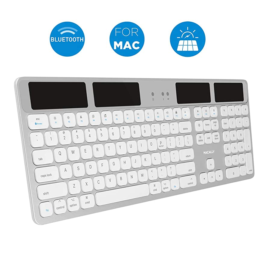 Macally Bluetooth Wireless Solar Keyboard for Mac Mini/Pro, iMac Desktop Computers & Apple MacBook Pro/Air Laptops | Rechargeable Via Any Light Source | Caps Lock/Battery Indicators - Aluminum