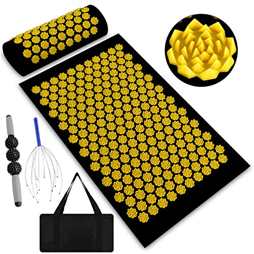 Acupressure Mat for Back Pain Relief,Acupressure Mat Large Help for Muscle Relaxation,Acupuncture mat Full Body,Acupressure Mats and Pillow with Carry Bag (Black and Yellow)