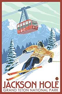 Jackson Hole, Wyoming - Grand Teton National Park - Skiing (9x12 Art Print, Wall Decor Travel Poster)