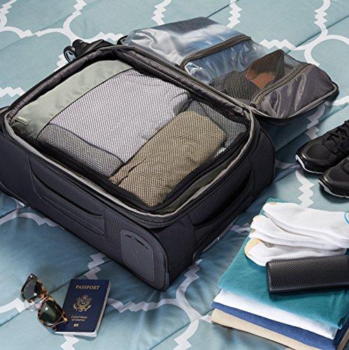 AmazonBasics 4 Piece Packing Travel Organizer Cubes Set - Large, Grey Connecticut