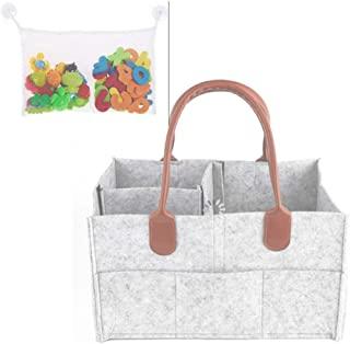 Diaper Caddy Organizer Nursery Storage Bin For Diaper & Wipe Diaper Caddie For Changing Table Portable Car Caddy Basket With Removable Handle & Compartment Plus Bath Toy Organizer