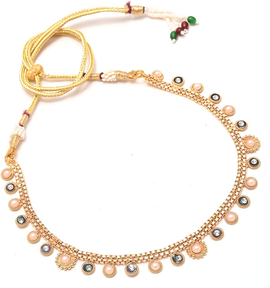 Jewar Necklace Set Ad Cz Pearl Kundan Simple Look Gold Plated Jewelry for Women & Girls 7853