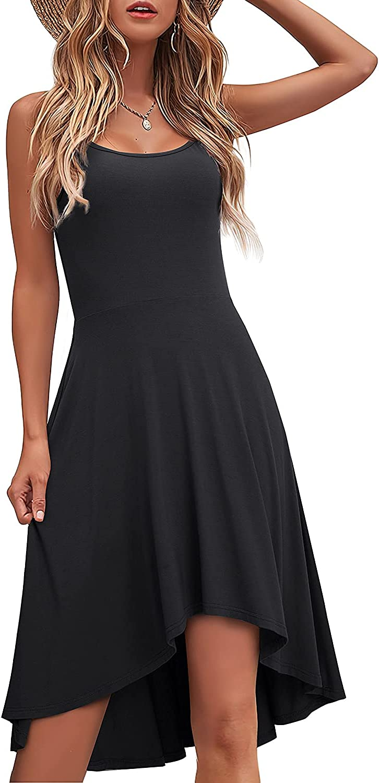HOMEYEE Women's Spaghetti Strap Asymmetry Hem Sundress Casual Dress A265