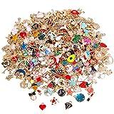 SANNIX 350Pcs Wholesale Bulk Lots Jewelry Making Charms Assorted Gold Plated Enamel Pendants for DIY Necklace Bracelet Earring Craft Supplies
