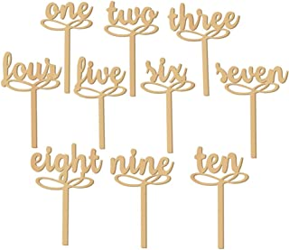 PIXNOR 1-10 Wooden Table Numbers on Sticks for Wedding Party Decoration Pack of 10
