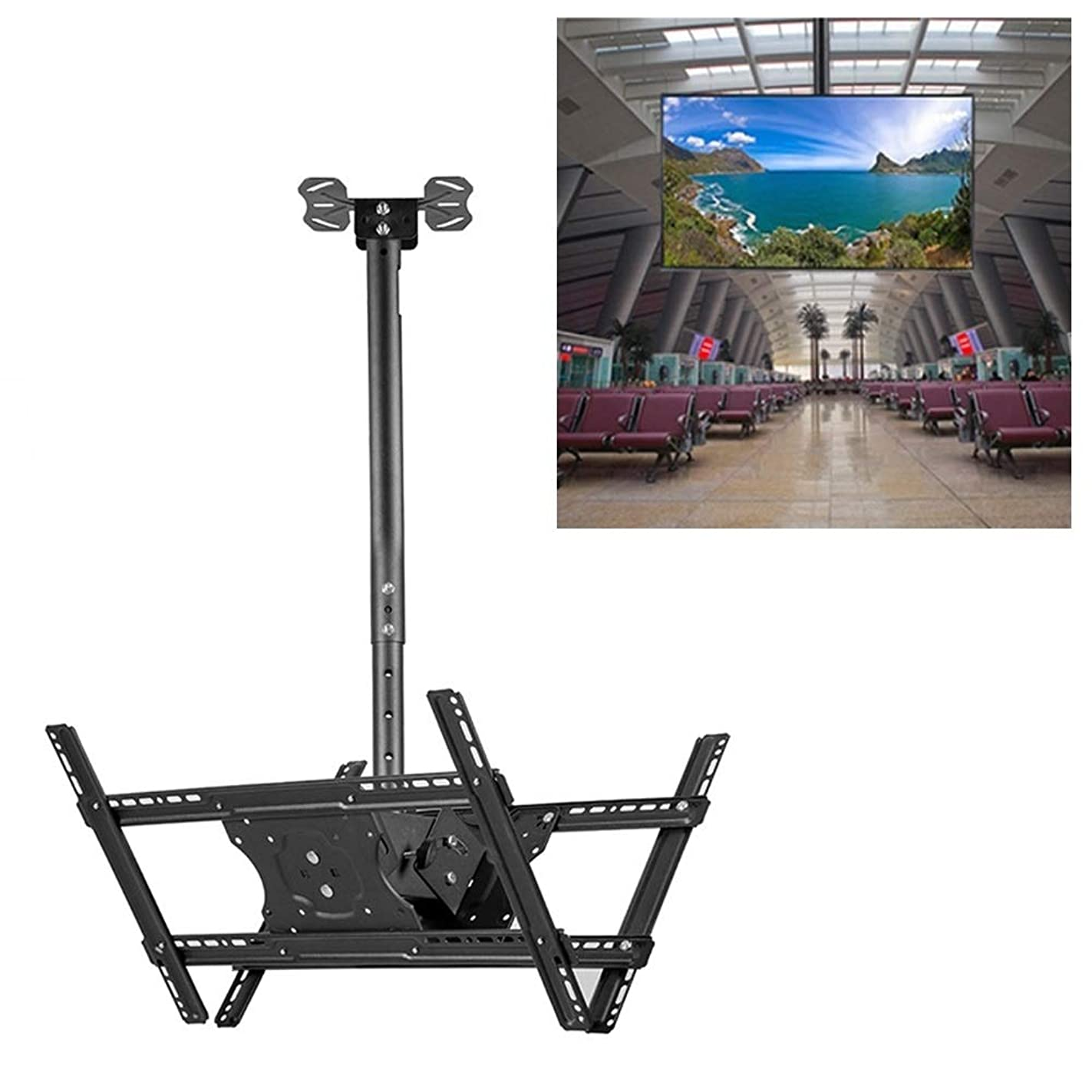 ギャラントリーバルーン町YWHテレビアジャスタブルブラケット 3265インチユニバーサル高さ&角度調節可能な両面テレビWallmounted天井Dualuseブラケット、リトラクタブル範囲:0.52メートル