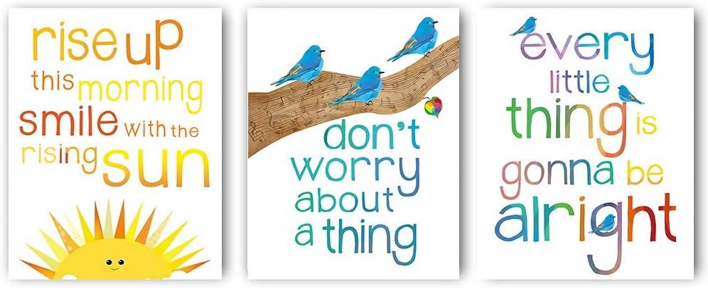 Watercolor Birds Inspirational Quote Art Print,Three little Birds Wall Art Set of 3( 8