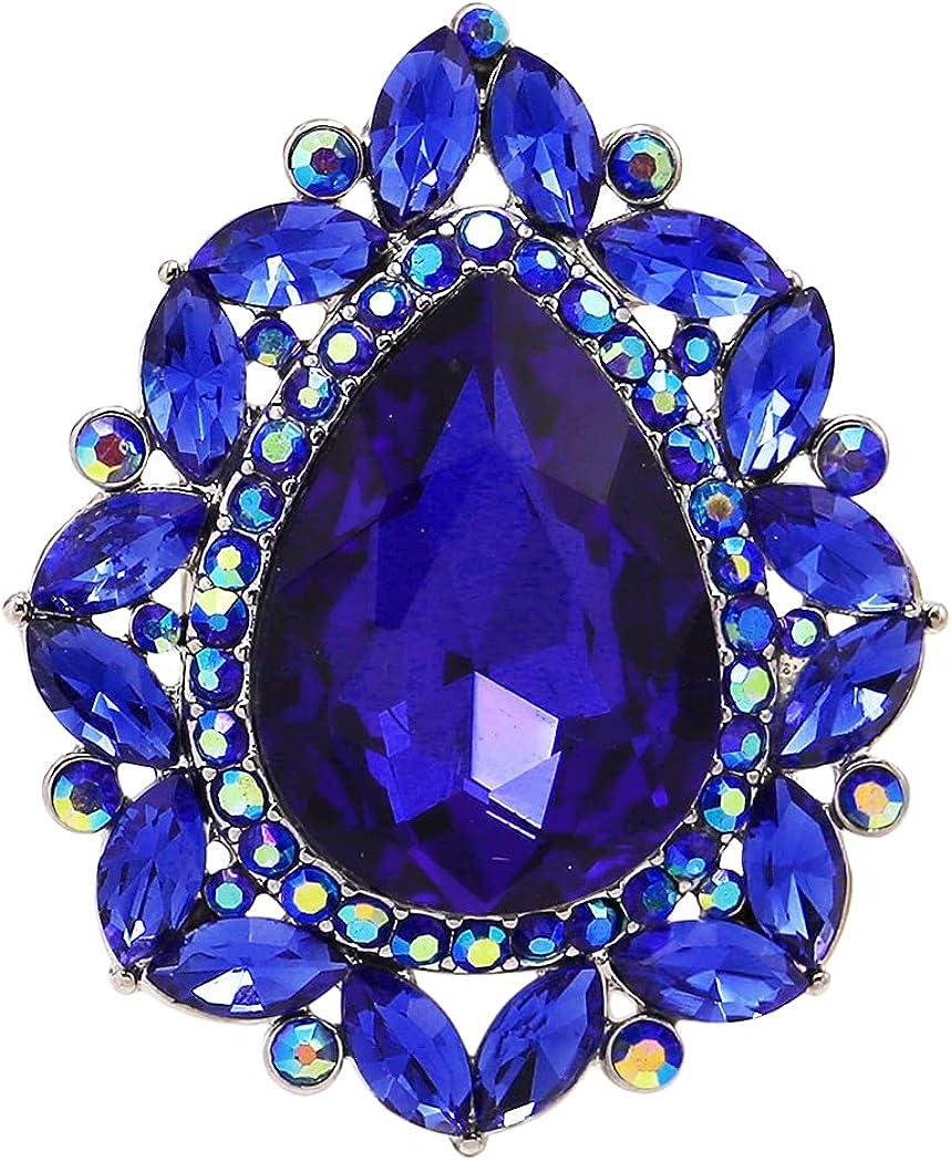 Rosemarie Jubalee Women's 2021 new Selling rankings Stunning Teardrop Cr Statement Glass