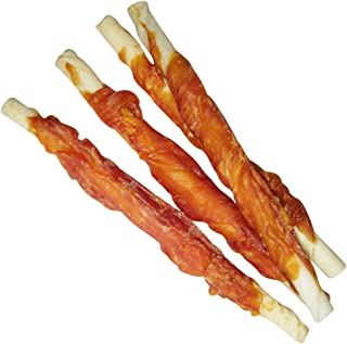 Huesos masticables para perro (hechos de piel de búfalo envueltos en carne de filete de pollo deshidratado y cecina de alta calidad, bajos en grasa y fáciles de digerir)