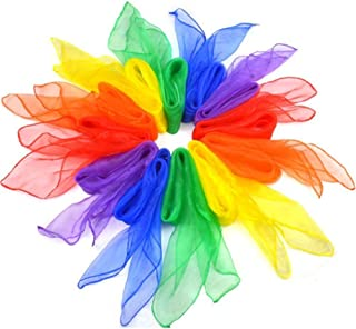 Bestmaple 12pcs Square Juggling Silk Dance Scarves Movement Scarves