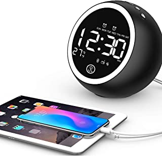 MKYUHP Alarm Clock Radio with Bluetooth Speaker, FM Radio, Double USB Charger,Dual Alarm, Snooze, AUX TF Card and Thermometer Mini Portable Digital Dimmer Clock Radio for Bedrooms Home and Kitchen