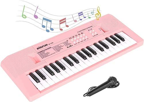 sanlinkee Teclado Electrónico Piano 37 Teclas para Niños, Piano Niños Instrumento Musical con Micrófono Teclado de Juguete Piano Portátil Alimentación ...
